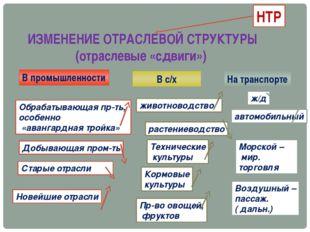 ИЗМЕНЕНИЕ ОТРАСЛЕВОЙ СТРУКТУРЫ (отраслевые «сдвиги») НТР В промышленности В с