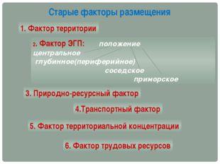 Старые факторы размещения 1. Фактор территории 2. Фактор ЭГП: положение центр