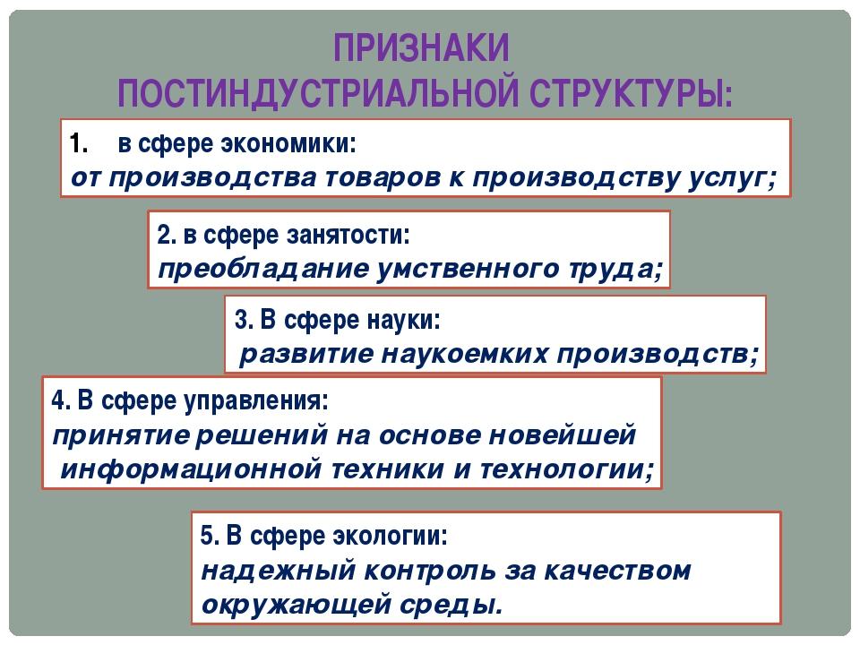 ПРИЗНАКИ ПОСТИНДУСТРИАЛЬНОЙ СТРУКТУРЫ: в сфере экономики: от производства тов...