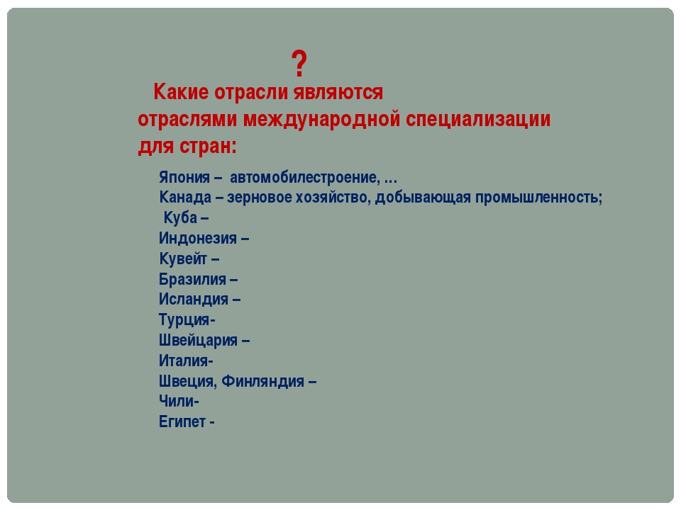 Какие отрасли являются отраслями международной специализации для стран: ? Яп...