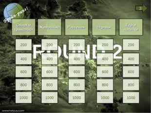 ROUND 2 Спорт и транспорт Животные Растения страны Еда и напитки 200 400 600