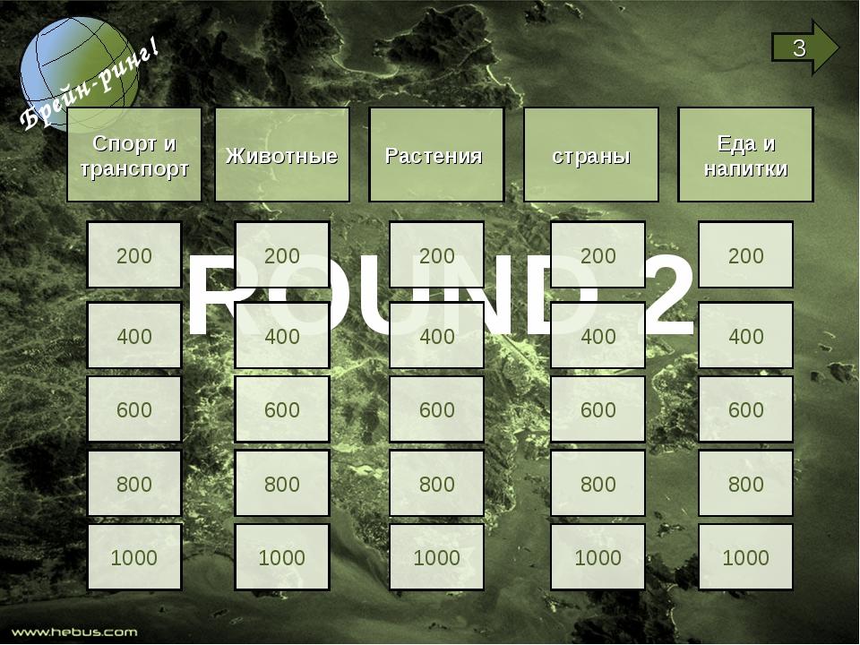 ROUND 2 Спорт и транспорт Животные Растения страны Еда и напитки 200 400 600...