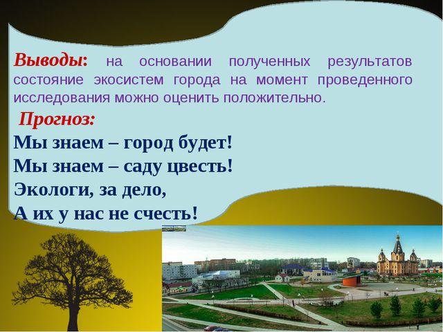 Выводы: на основании полученных результатов состояние экосистем города на мом...