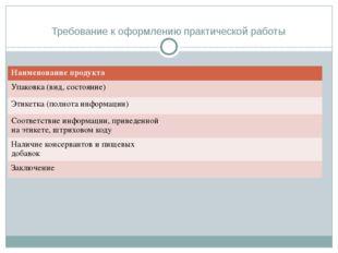 Требование к оформлению практической работы Наименование продукта Упаковка (в