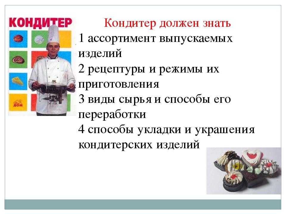 Кондитер должен знать 1 ассортимент выпускаемых изделий 2 рецептуры и режимы...