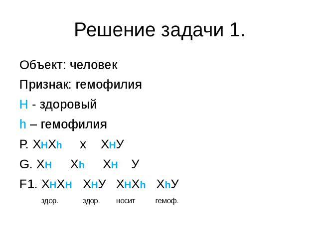 Решение задачи 1. Объект: человек Признак: гемофилия H - здоровый h – гем...