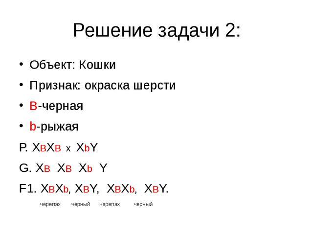 Решение задачи 2: Объект: Кошки Признак: окраска шерсти В-черная b-рыжая...