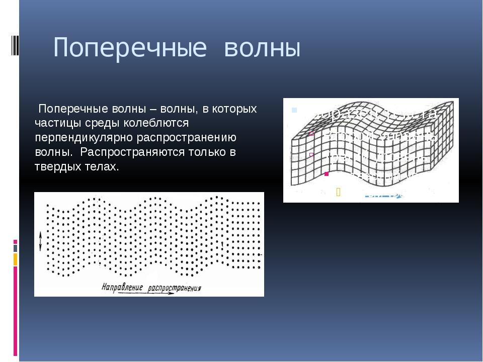 Поперечные волны Поперечные волны – волны, в которых частицы среды колеблются...