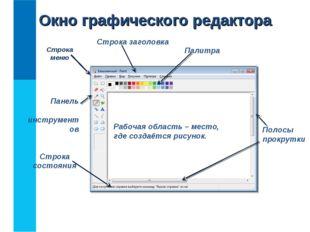 Окно графического редактора Строка заголовка Строка состояния Строка меню Пан