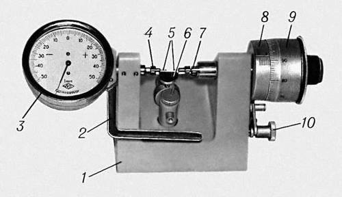 Рис. 2. Настольный микрометр со стрелочным отсчётным устройством: 1 — корпус; 2 — арретир; 3 — отсчётное устройство; 4 — измерительный стержень отсчётного устройства; 5 — измерительные наконечники; 6 — столик; 7 — измерительный стержень микрометрической головки; 8 — стебель; 9 — барабан; 10 — стопор.