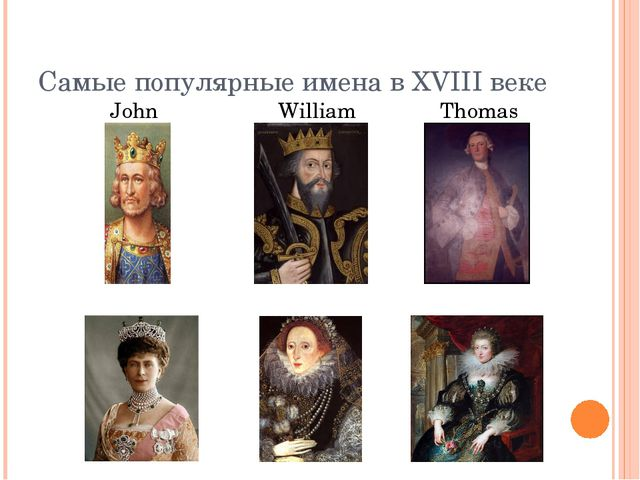 Самые популярные имена в XVIII веке John William Thomas Mary Elizabeth Anna