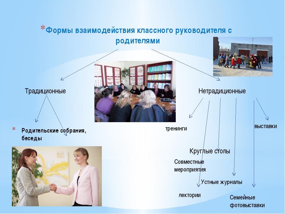 Родительские собрания, беседы Формы взаимодействия классного руководителя с р...