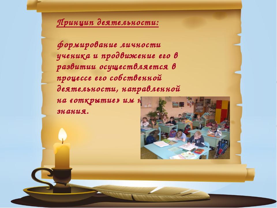 Принцип деятельности: формирование личности ученика и продвижение его в разв...