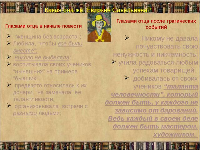 """Какая она же, Евдокия Савельевна? Глазами отца в начале повести """"женщина без..."""