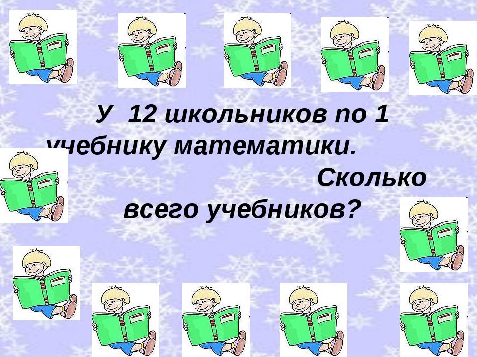 У 12 школьников по 1 учебнику математики. Сколько всего учебников?
