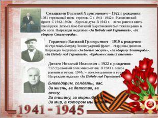 Смышляев Василий Харитонович – 1922 г рождения 1081 стрелковый полк- стрелок