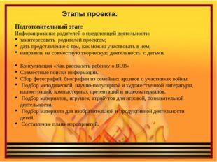 Этапы проекта. Подготовительный этап: Информирование родителей о предстоящей