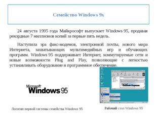 Семейство Windows 9x 24 августа 1995 года Майкрософт выпускает Windows95,