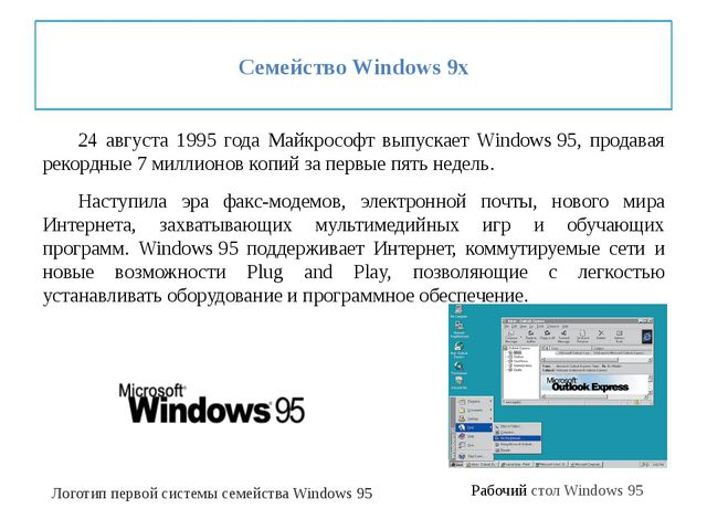 Семейство Windows 9x 24 августа 1995 года Майкрософт выпускает Windows95,...