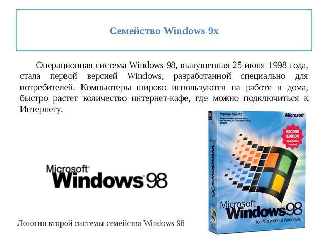 Семейство Windows 9x Операционная система Windows98, выпущенная 25 июня 19...