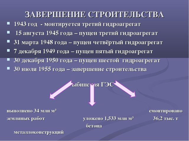 ЗАВЕРШЕНИЕ СТРОИТЕЛЬСТВА 1943 год - монтируется третий гидроагрегат 15 авгус...