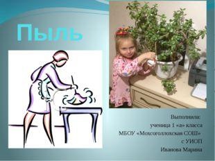 Пыль Выполнила: ученица 1 «а» класса МБОУ «Мохсоголлохская СОШ» с УИОП Иванов