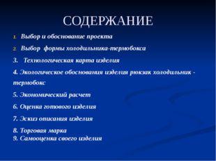 СОДЕРЖАНИЕ Выбор и обоснование проекта Выбор формы холодильника-термобокса 3.