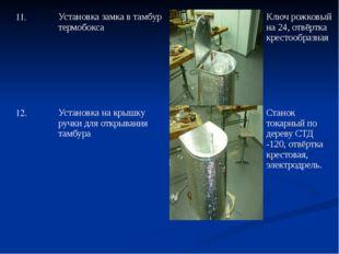 11. Установка замка в тамбур термобокса Ключ рожковый на 24, отвёртка крестоо