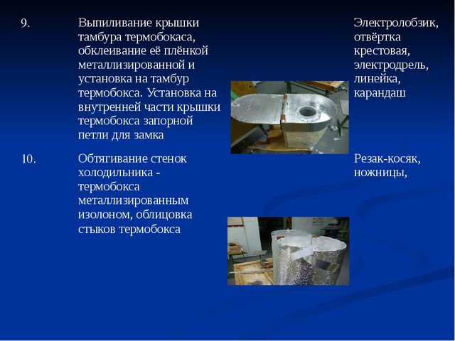 9. Выпиливание крышки тамбура термобокаса, обклеивание её плёнкой металлизиро...