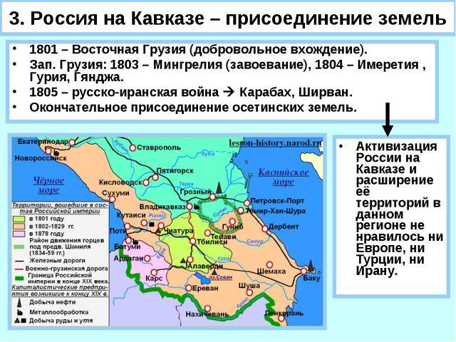 3. Россия на Кавказе – присоединение земель 1801 – Восточная Грузия (добровол...