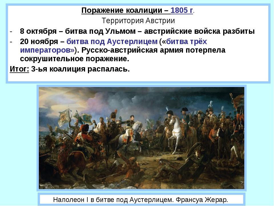 Поражение коалиции – 1805 г. Территория Австрии 8 октября – битва под Ульмом...
