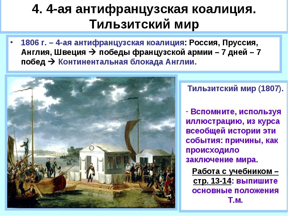 4. 4-ая антифранцузская коалиция. Тильзитский мир 1806 г. – 4-ая антифранцузс...