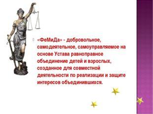 «ФеМиДа» - добровольное, самодеятельное, самоуправляемое на основе Устава рав