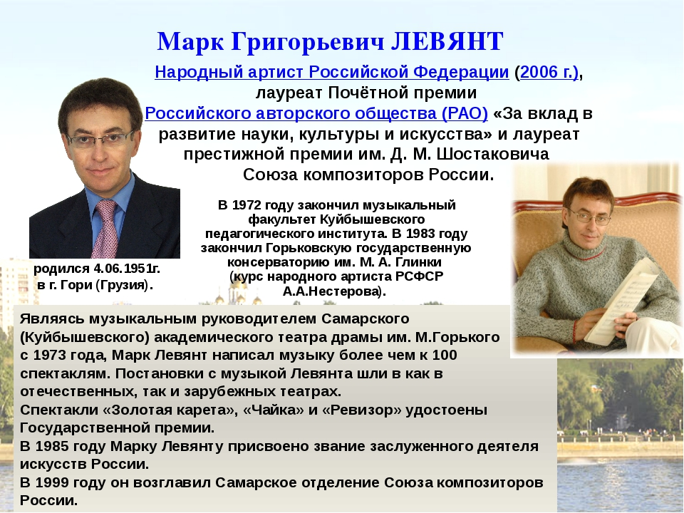Марк Григорьевич ЛЕВЯНТ Народный артист Российской Федерации (2006 г.), лауре...
