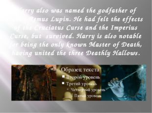 Harry also was named the godfather of Teddy Remus Lupin. He had felt the effe