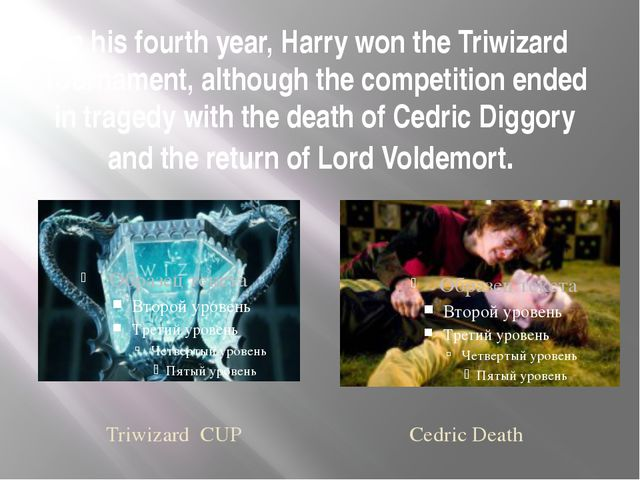 In his fourth year, Harry won the Triwizard Tournament, although the competit...