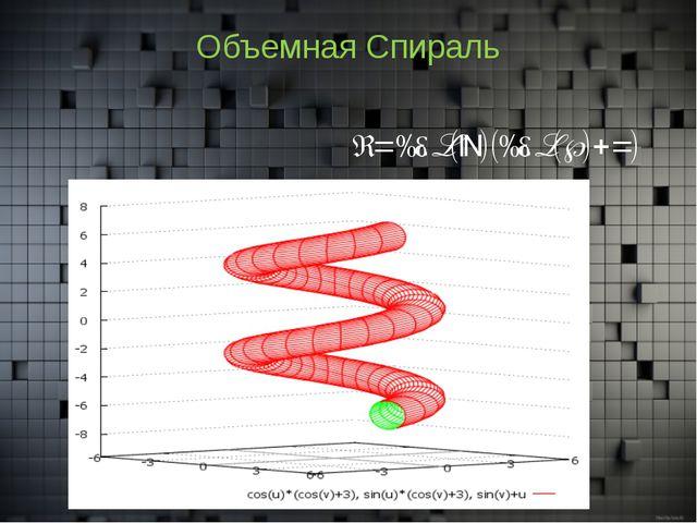 Объемная Спираль x=cos(u)(cos(v)+3)