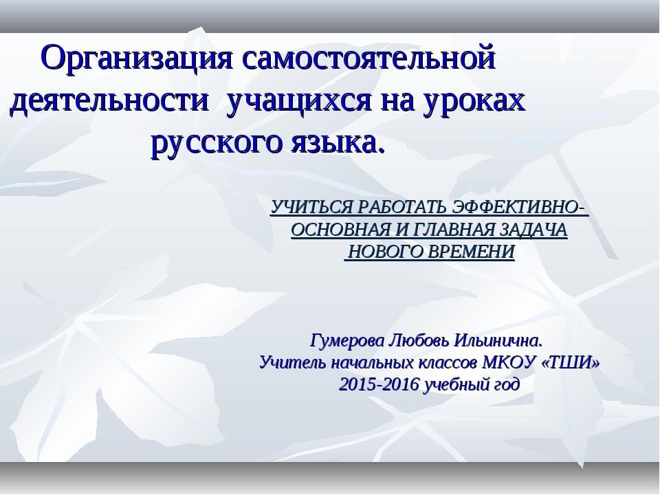 Организация самостоятельной деятельности учащихся на уроках русского языка. У...