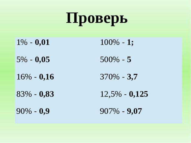 Проверь 1%-0,01 100% -1; 5% -0,05 500% -5 16% -0,16 370% -3,7 83%-0,83 12,5%-...
