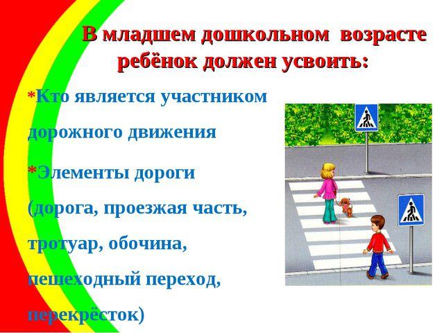В младшем дошкольном возрасте ребёнок должен усвоить: *Кто является участнико...