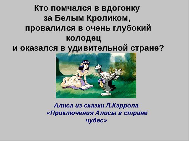 Кто помчался в вдогонку за Белым Кроликом, провалился в очень глубокий колоде...