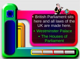 British Parliament sits here and all laws of the UK are made here. Westminste