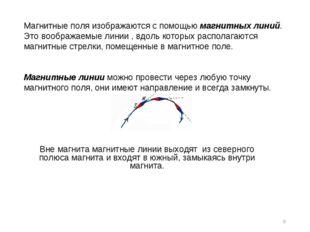 * Магнитные поля изображаются с помощью магнитных линий. Это воображаемые лин