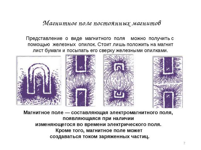 * Магнитное поле постоянных магнитов Магнитное поле — составляющая электромаг...