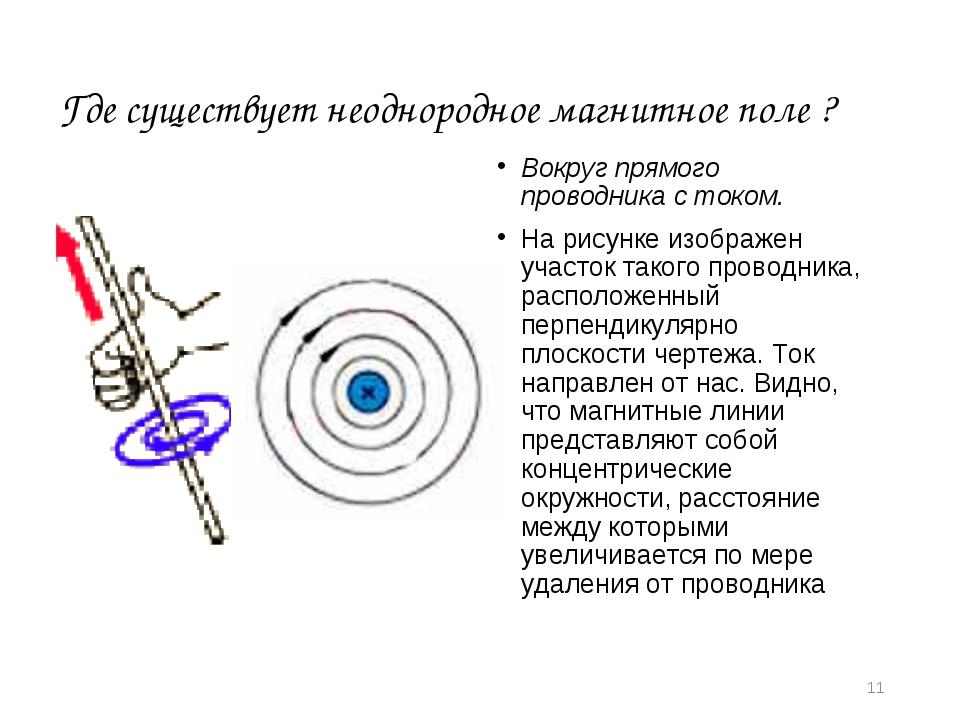 * Где существует неоднородное магнитное поле ? Вокруг прямого проводника с то...