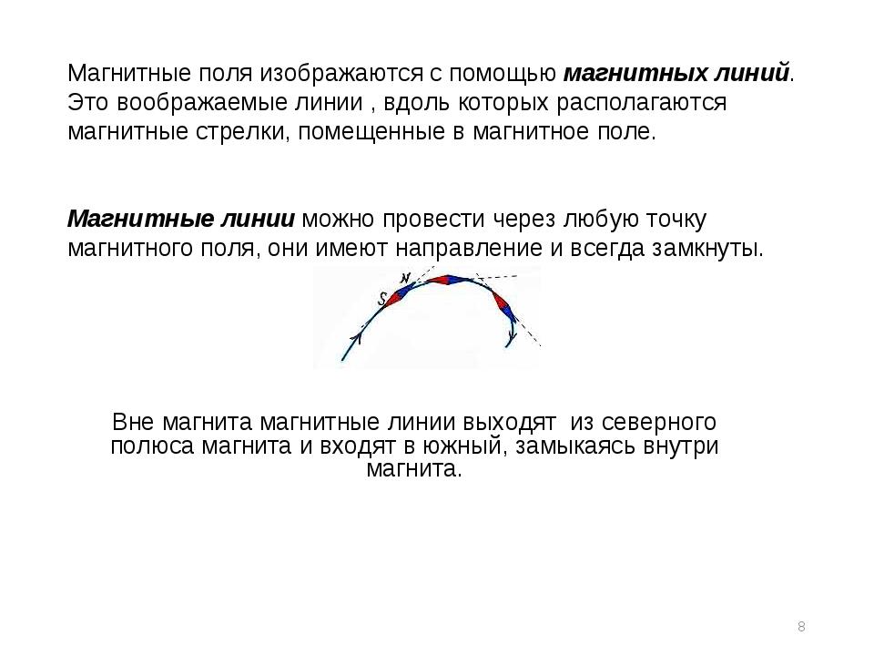 * Магнитные поля изображаются с помощью магнитных линий. Это воображаемые лин...