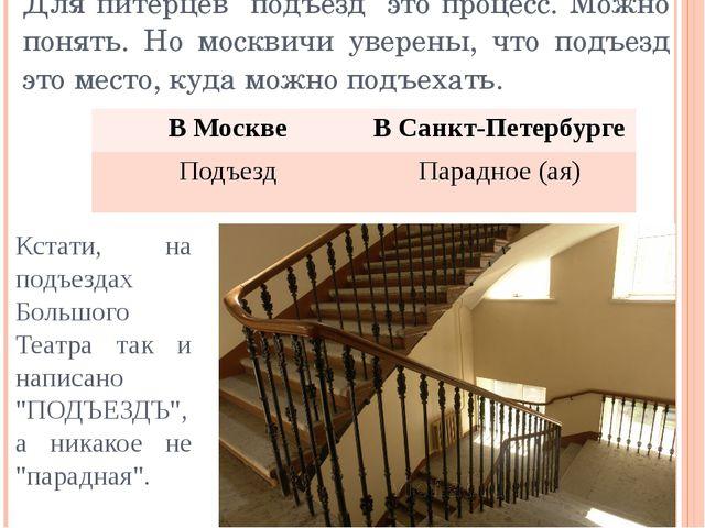 """Для питерцев """"подъезд"""" это процесс. Можно понять. Но москвичи уверены, что по..."""
