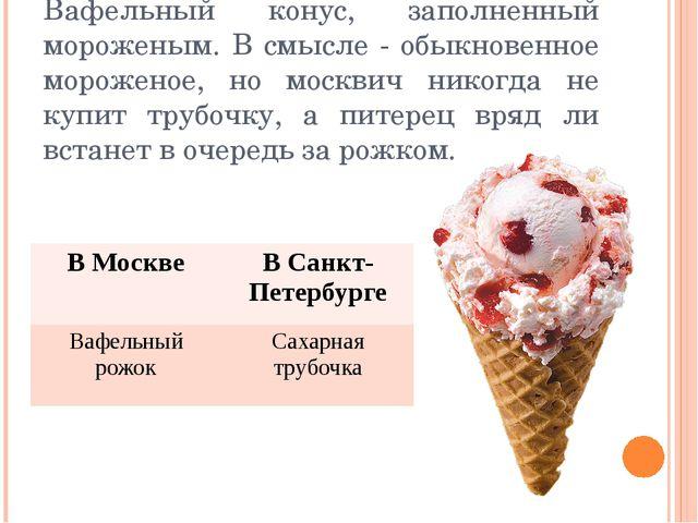 Вафельный конус, заполненный мороженым. В смысле - обыкновенное мороженое, но...