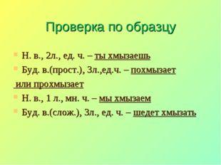 Проверка по образцу Н. в., 2л., ед. ч. – ты хмызаешь Буд. в.(прост.), 3л.,ед.