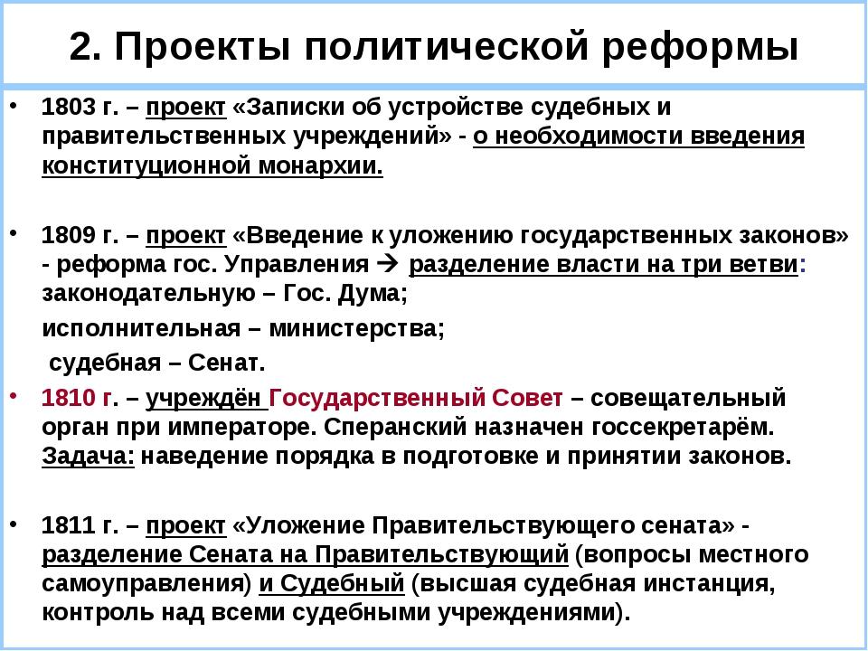 2. Проекты политической реформы 1803 г. – проект «Записки об устройстве судеб...